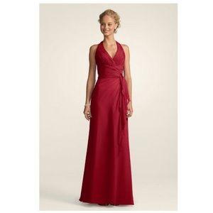 David's Bridal Chiffon Halter Gown